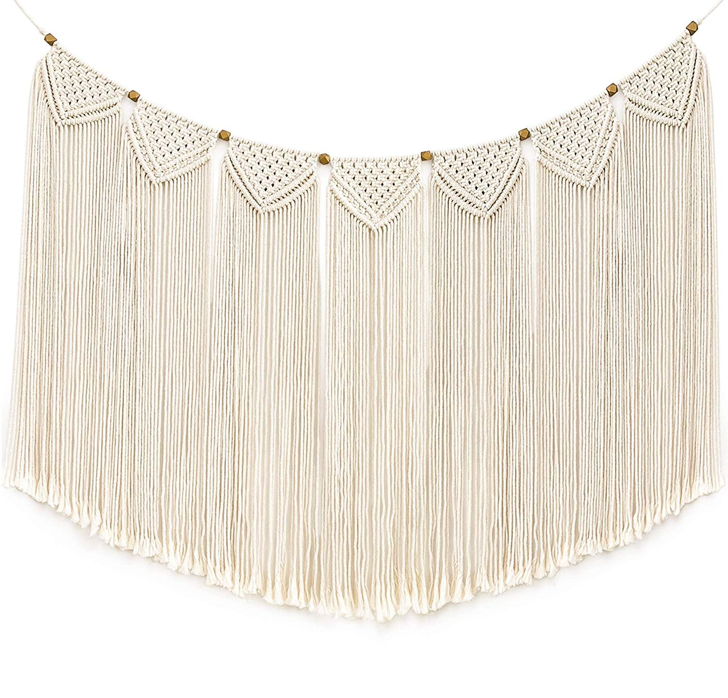 Mkono Macrame Wall Hanging Curtain Fringe Garland Banner Bohemian Wall Decor Woven Home Decoration for Apartment Bedroom Living Room Gallery Baby Nursery 47'L X 28'W
