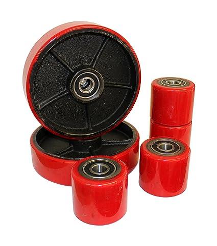 Productos Letter Juego de ruedas ruedas para transpaleta Tenedor Transpaleta PU Goma Dura Tandem con rodamiento