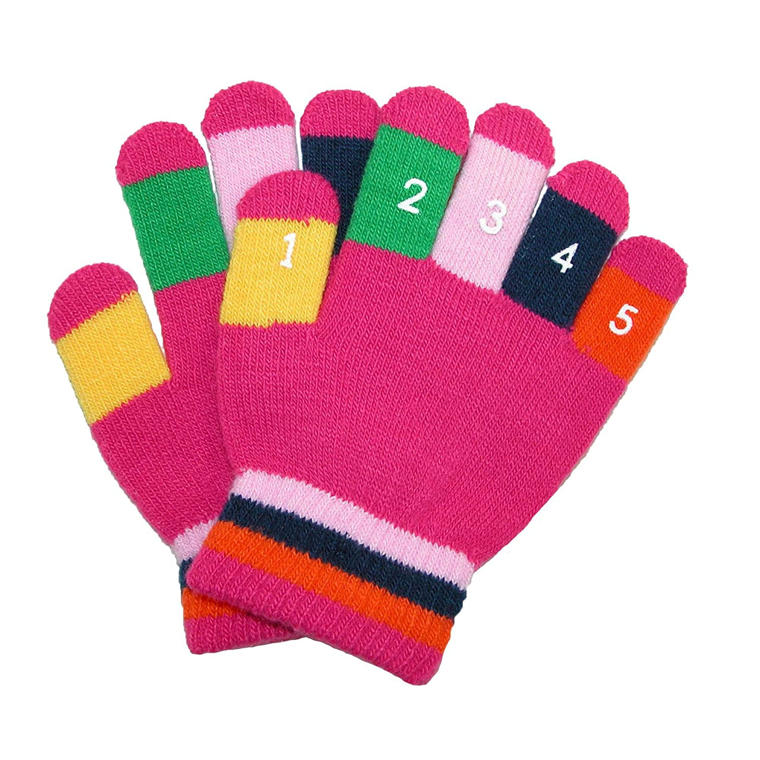 Grand Sierra Toddler 2-4T Knit Stretch Counting Gloves, Fuchsia