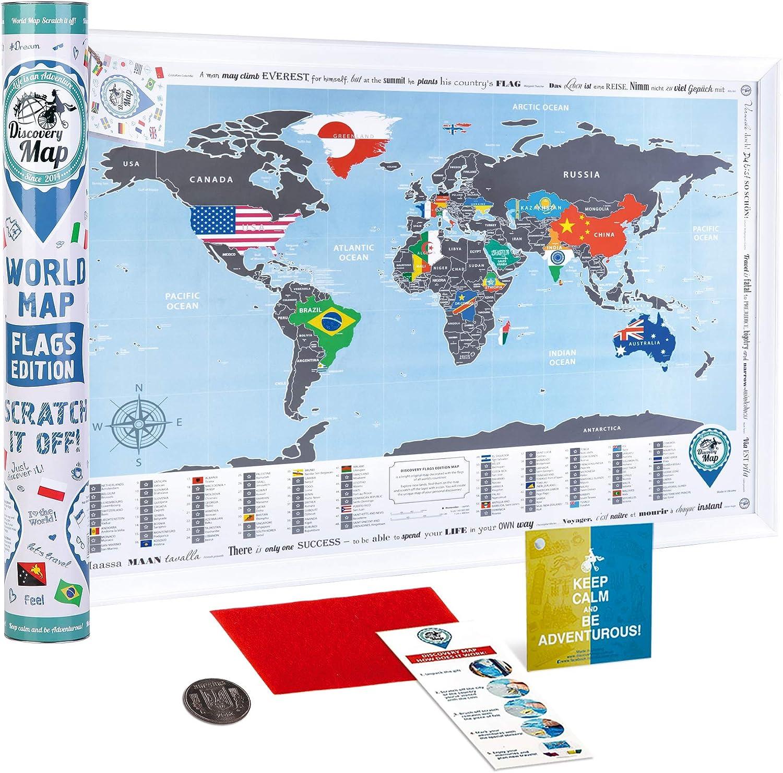 New! World Map with Scratch off, Flags Edition – Mapa del Mundo Rasca, Edición con Banderas de los Países.: Amazon.es: Juguetes y juegos