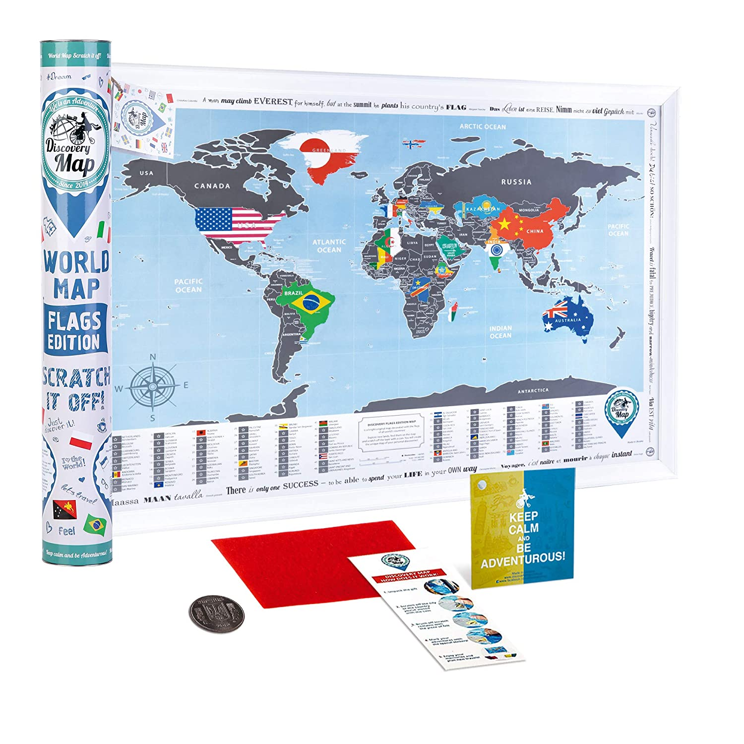 Amazon Com Scratch Off World Map Flags Poster Colorful Scratch