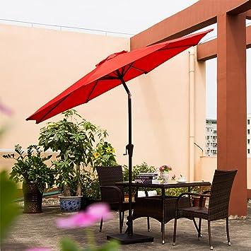 Ollieroo Patio Umbrella Tilt Aluminum 9FT Outdoor Market Umbrella With  Crank 8 Steel Ribs And Wind
