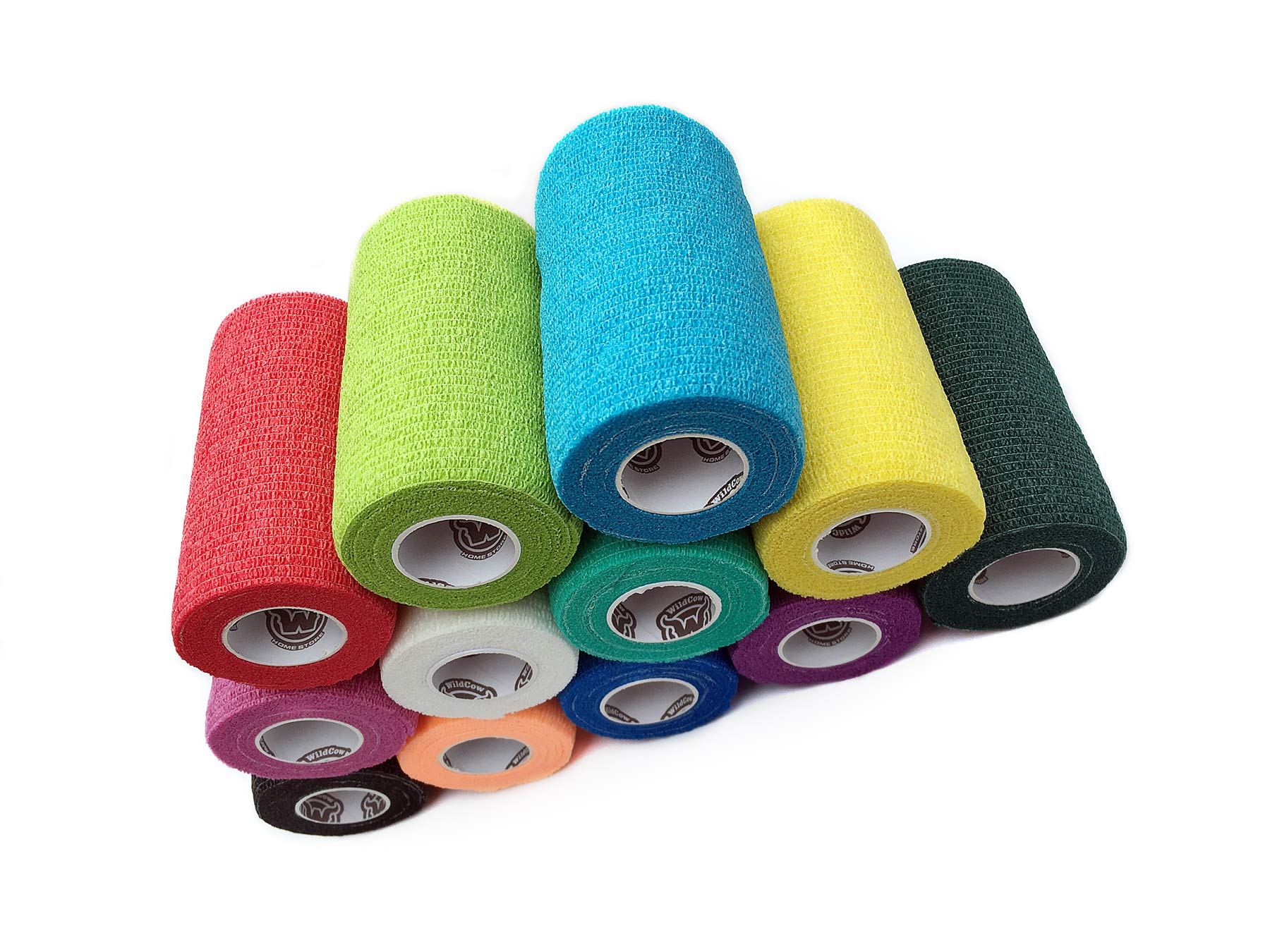 WildCow Vet Wrap Bulk Bandage Tape (4 Inch 12 Color Pack), Waterproof Self Adherent Cohesive Rolls by WildCow