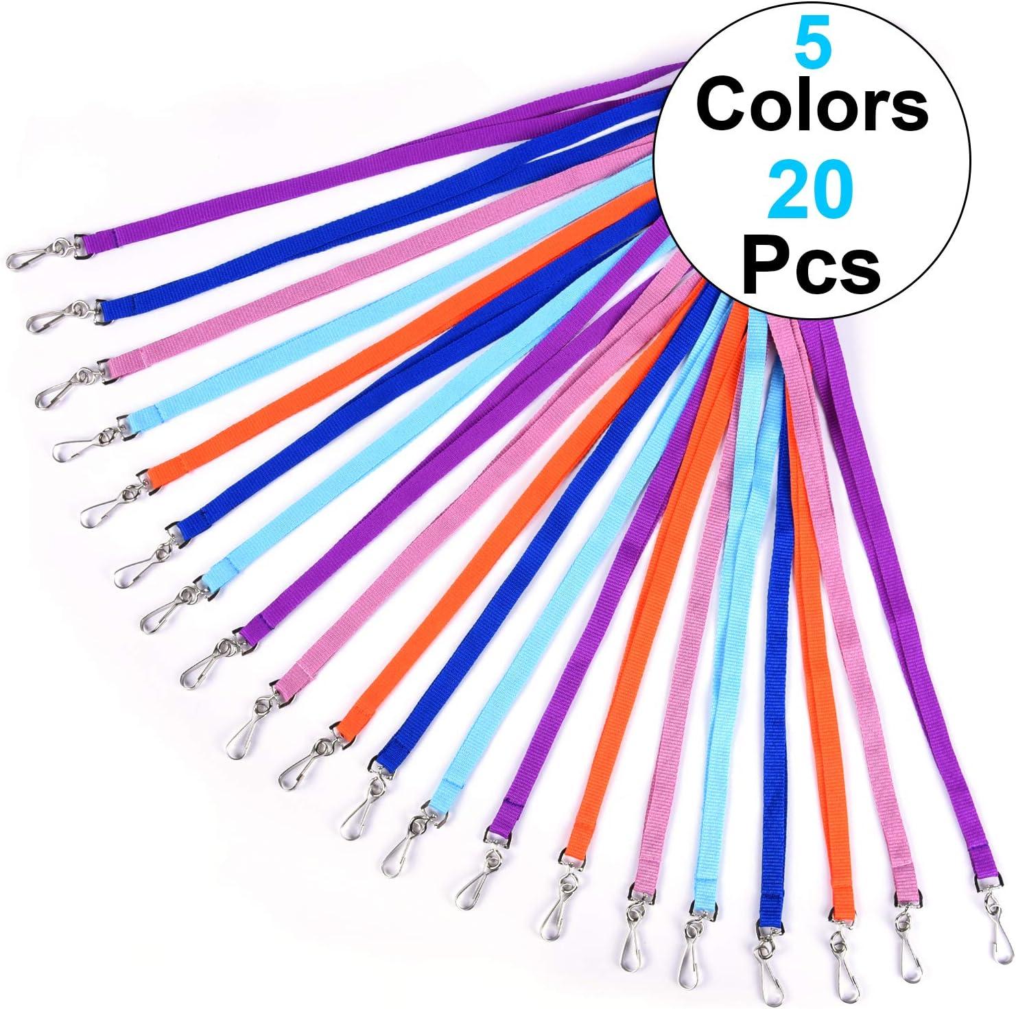 45 cm colorati colore blu scuro con gancio a J resistente per targhetta identificativa viola Wisdompro Confezione da 20 cordini da collo azzurro rosa arancione
