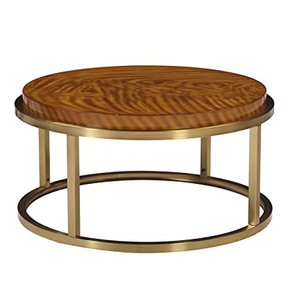 The Amazing Home C200 02 Sausalito Round Coffee Cocktail Table, Brass And  Exotic Veneer
