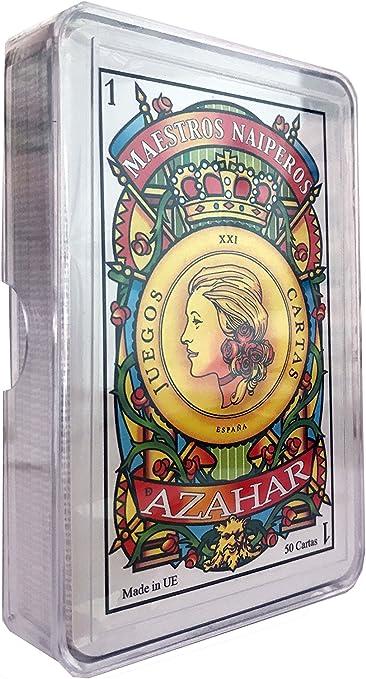 Maestros Naiperos- baraja, española, 50, cartas, estuche de plástico, calidad casino, Color azul o rojo. envío aleatorio (130003068): Amazon.es: Juguetes y juegos