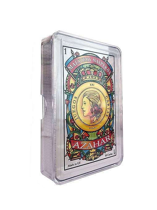 Maestros Naiperos- baraja, española, 50, Cartas, Estuche de plástico, Calidad Casino, Color Azul y Rojo (130003068)