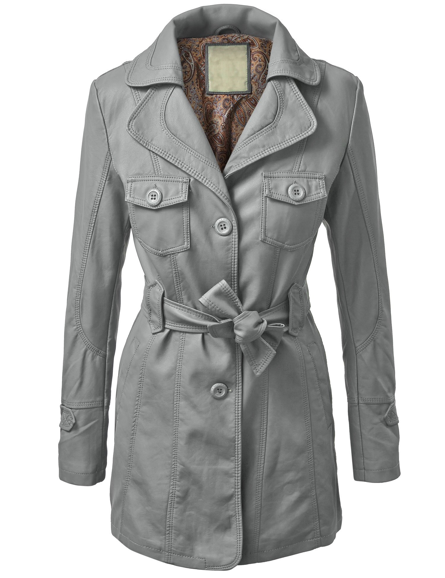 WJC740 Womens Mod Faux Leather Trench Coat S GRAY