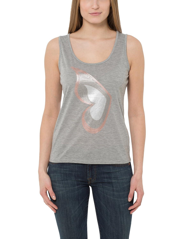 TALLA 36. Berydale Camiseta sin mangas de mujer, diseño con mariposa tipo lentejuela