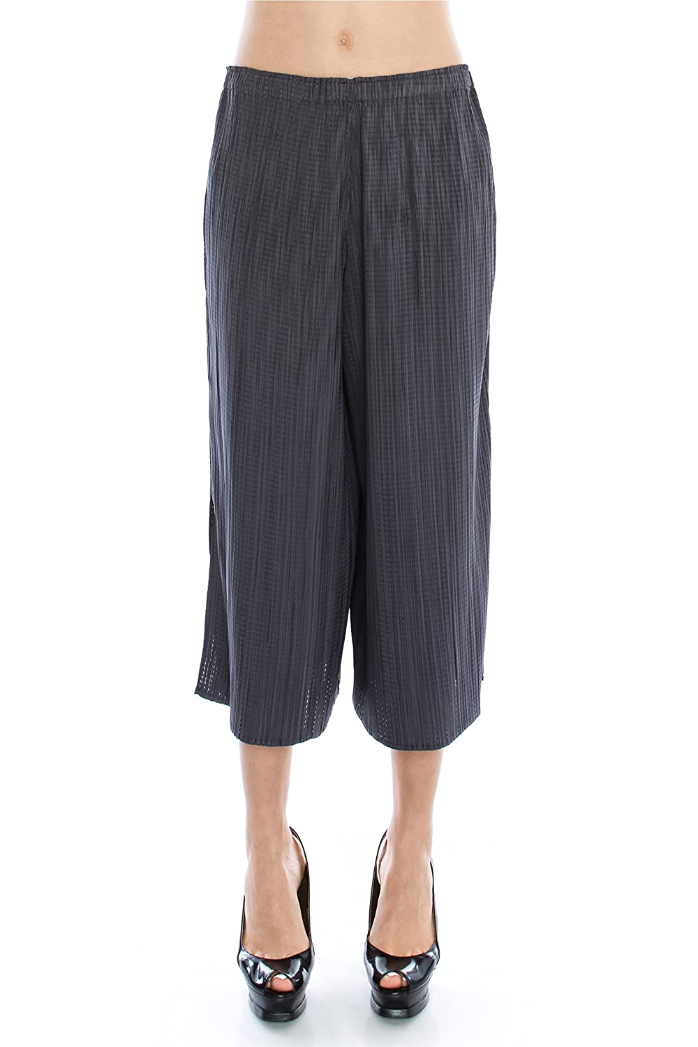 Petala Women's One Size Fits All Pleated Culottes Pants in Grey