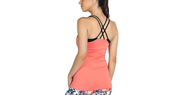 5bcf3efb0 icyzone Women Workout Yoga Spaghetti Strap Racerback Tank Top with Built in  Bra