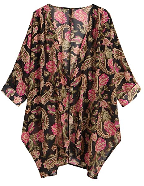 4e552a643 OLRAIN Women's Floral Print Sheer Chiffon Loose Kimono Cardigan Capes  (Small, Black Rose)