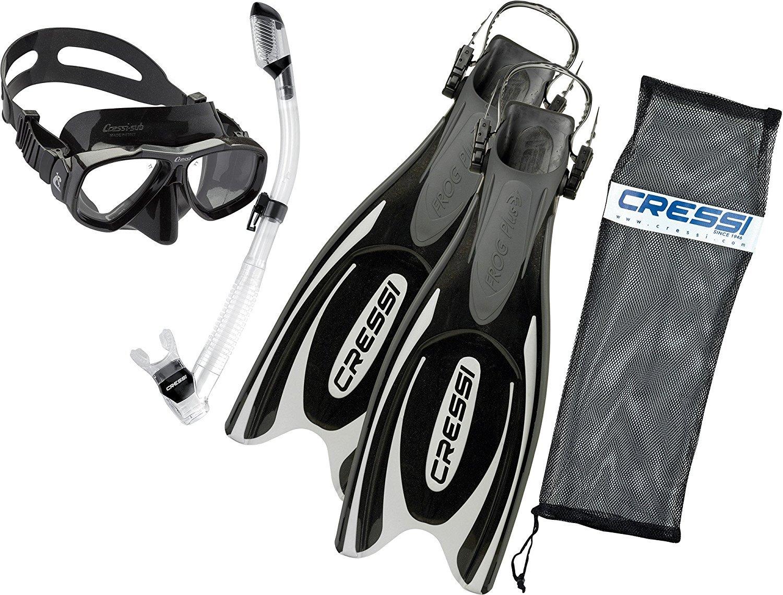 Cressi Frog Plus Fin Focus Silicone Mask Dry Snorkel Set, Black, Small/Medium/Men's 7-9/Women's 8-10