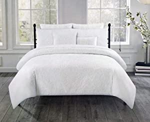 Tahari 3 Pc Duvet Quilt Cover Set Raised Embroidered White Thread Floral Medallions Pattern on Snow White - Indie Medallion (Full/Queen)