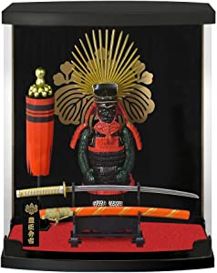 """Samurai Figure series A12 Toyotomi Hideyoshi Armor, Dust Proof transparent box height 8.3"""", with Real Katana(Sword), in study office and living room, like ninja Bushido for japan gifts"""
