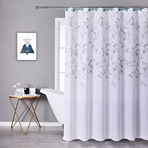 Central Park Gray Tan Leaf Shower Curtain Water Resistant Decorative Sweeping Floral Print Canvas Bathroom Spa Hotel Shower Curtain with Buttonholes (White, 70