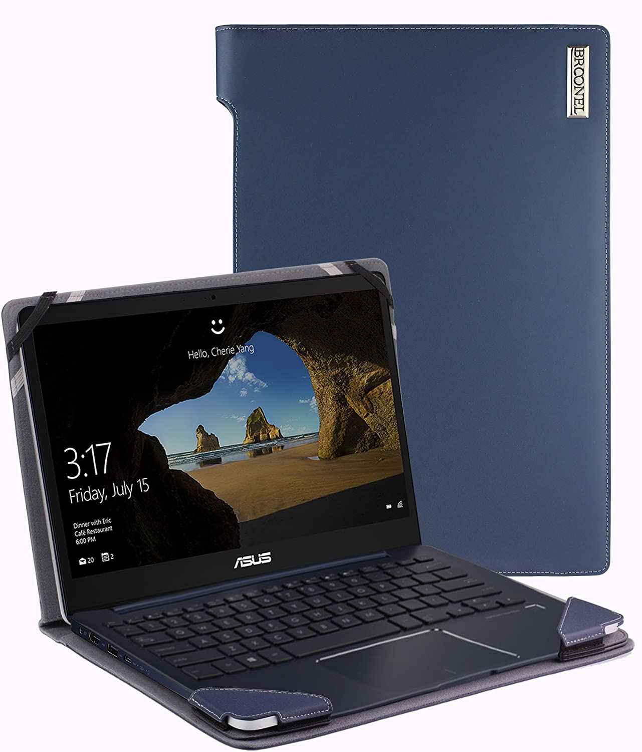 Navitech Broonel - Profile Series - Blue Leather Luxury Laptop Case Compatible with The Acer Chromebook 11, Celeron N3060, 11.6""