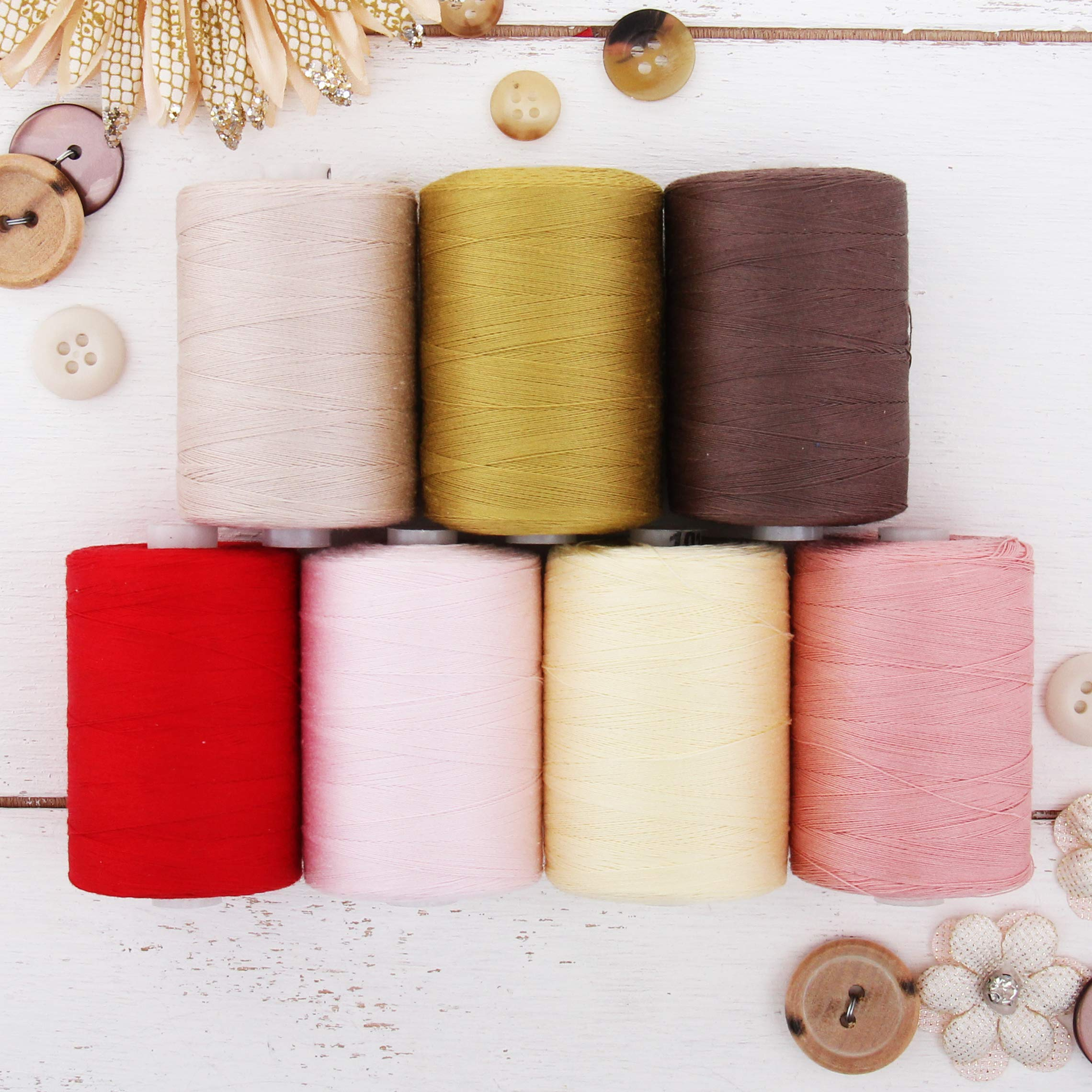 Threadart 100% Cotton Thread Set | 7 garden Color Spools | 1000M (1100 Yards) Spools | For Quilting & Sewing 50/3 Weight | Long Staple & Low Lint | Over 20 Other Sets Available by Threadart