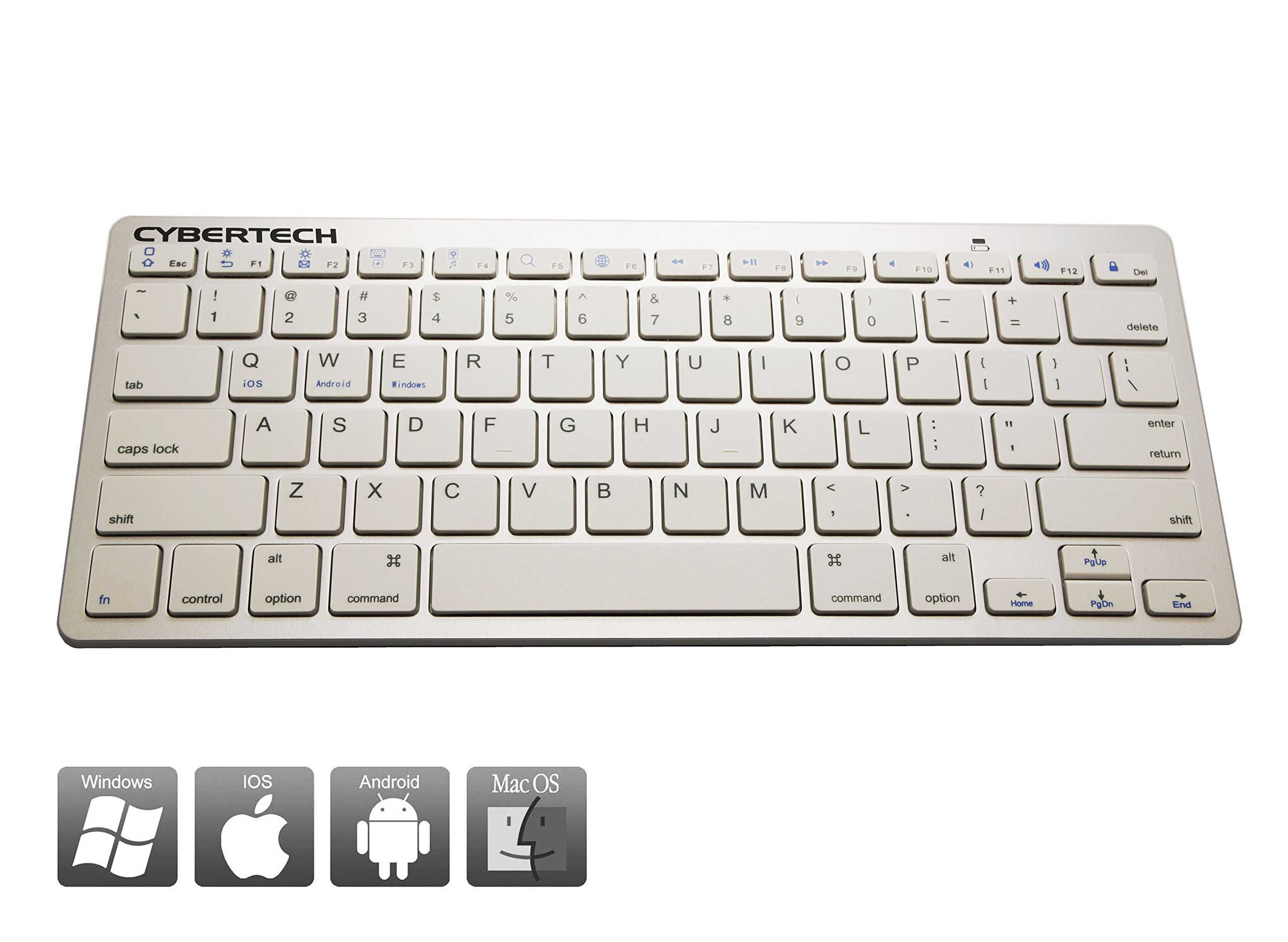 CyberTech Bluetooth Ultra-Thin Keyboard for iPad Air/Air 2,iPad Pro,iPad mini 1/2/3/4,iPad 2/3/4, Galaxy Tablets,Windows Tablets,and Other Mobile Devices,For IOS,Andriod,Windows System(WHITE)