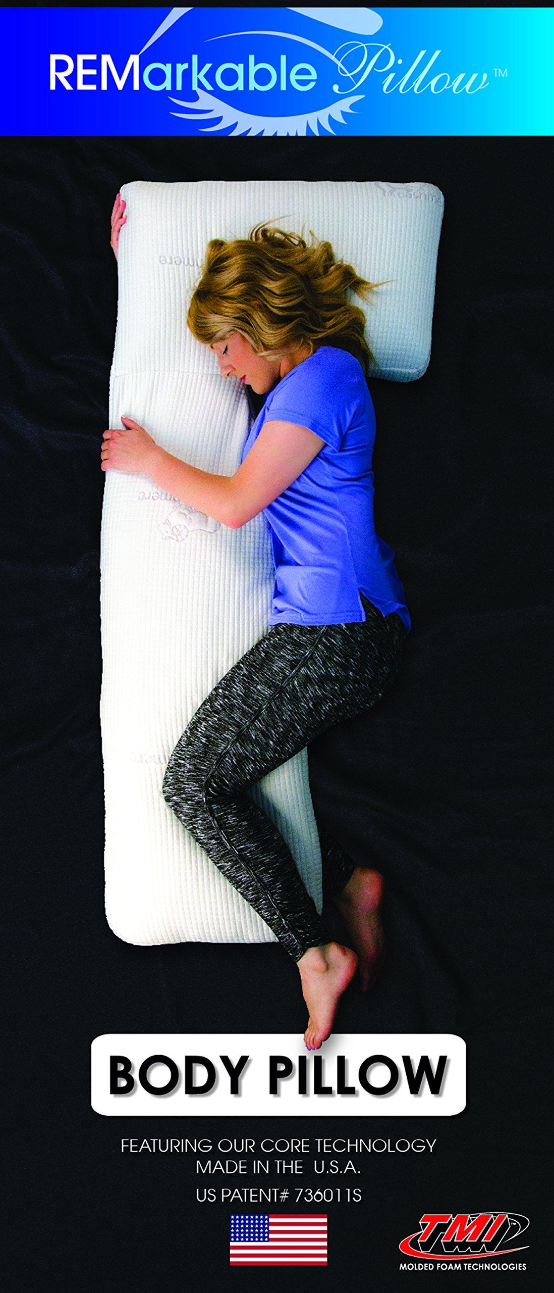 REMarkable Sleeping Pillow - Hypoallergenic Memory Foam Cashmere Body Pillow w/Custom Pillow Case