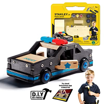 Stanley Jr. DIY Wooden Police Car Kit for Kids - Easy to Assemble Police Car Building Set - Craft Toys for Kids - Wood Cop Car Toy for Boys and Girls - Parts and Paint Included: Toys & Games [5Bkhe0906266]