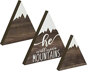 Riverside Rustics Hanging or Standing Wooden Mountain Decor - Woodland Adventure Newborn Baby Girl, Boy or Gender Neutral Nursery Table, Wall and Shelf Decoration - He Will Move Mountains, Set of 3