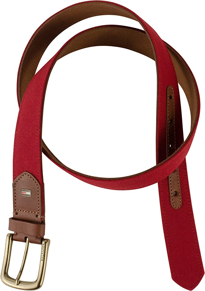 Tommy Hilfiger Men/'s Brown Belt Ribbon Leather Double-stitched 11tl02x047-brown