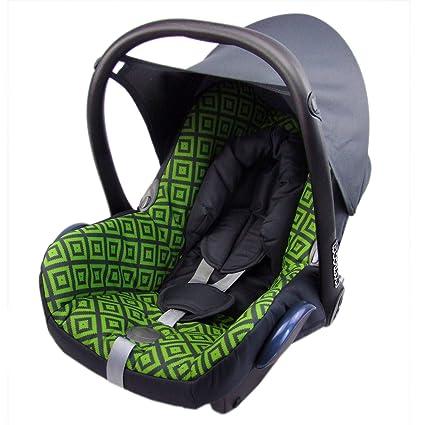 Babys-Dreams – Funda de repuesto para maxi-cosi cabriofix 6 piezas gris oscuro + verdes cuadrados * Nuevo * funda para bebé carcasa funda de verano ...