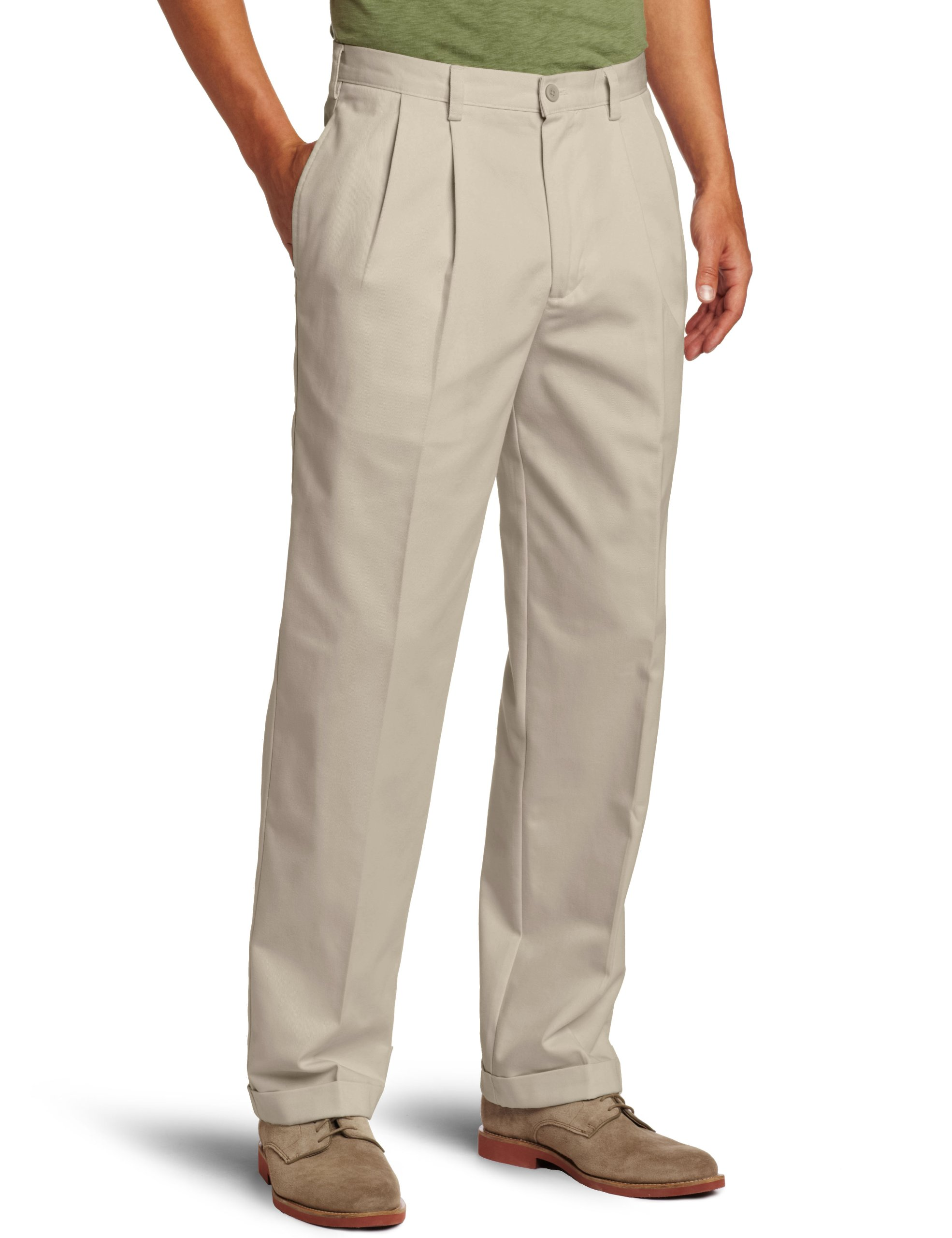 IZOD Men's American Chino Pleated Pant, Khaki, 32W x 30L