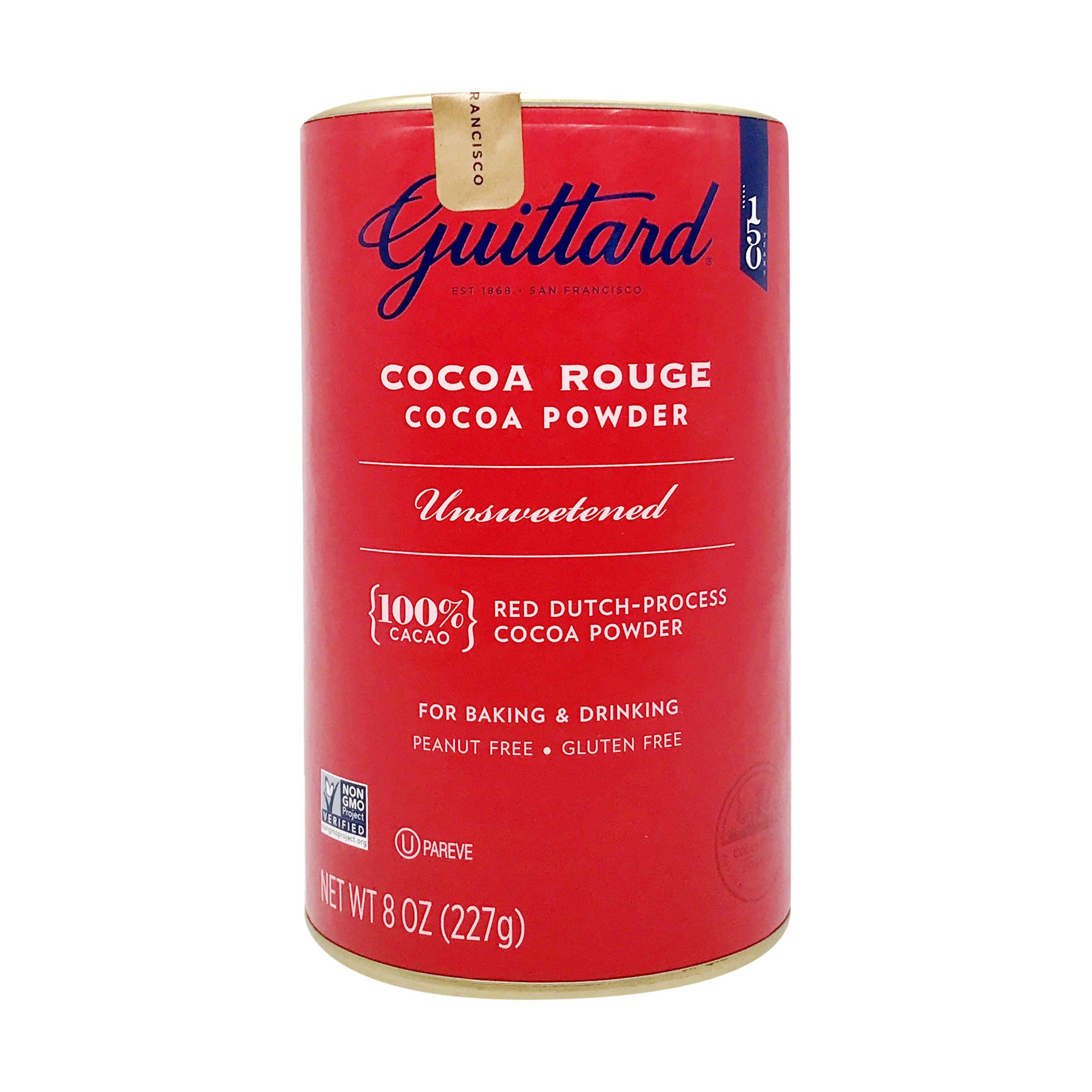 E Guittard Cocoa Powder, Unsweetened Rouge Red Dutch Process Cocoa, 8oz Can