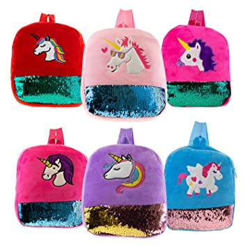 12 Inch Wholesale Plush Unicorn and Sequin Kids Backpack in 6 Assorted Colors - Bulk Case of 24 Bookbags