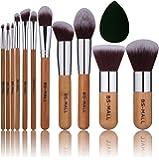 BS-MALL Bamboo Silver Premium Synthetic Kabuki Makeup Brush Set Cosmetics Foundation Blending Blush Face Powder Brush Makeup Brush Kit Plus Black Teardrop Makeup Blender Sponges