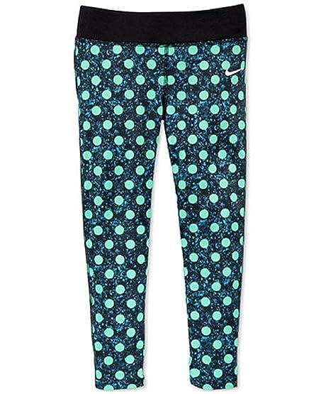 Nike Girls Green Polka Dot Leggings 6 Black/Green