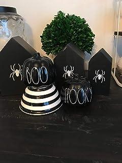Gustave Set of 2 Farmhouse Ceramic Halloween Pumpkins Spooky and Boo Rae Dunn Halloween