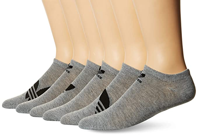 bfe8870f1bca9 Amazon.com: adidas Men's Originals Trefoil No Show Socks (6-Pack), heather  grey/black, 6-12: Sports & Outdoors