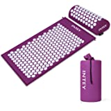 INTEY Acupressure Mat Massage Acupuncture Mat and Pillow Set Ideal for Neck, Back and Shoulder Pain Remedy and Stress Relief with Spike Points and Portable Bag (Purple)
