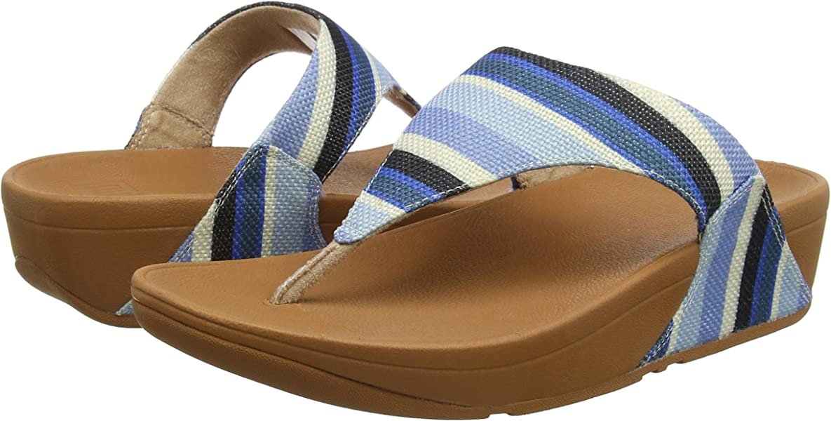 5639c167afed51 Fitflop Women s LULU Toe-Thong Sandals-Stripey Canvas Open Blue