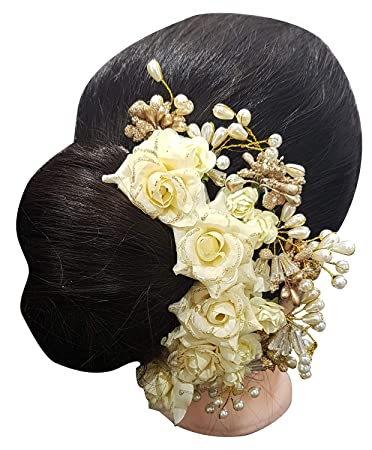 6751db6f6c19b Buy Fully Side Juda Hair Accessories Bun Decoration Gajra For Girls And  Women Trending Juda Maker Accessories White And Golden 20 Gram Pack Of 1  Online at ...