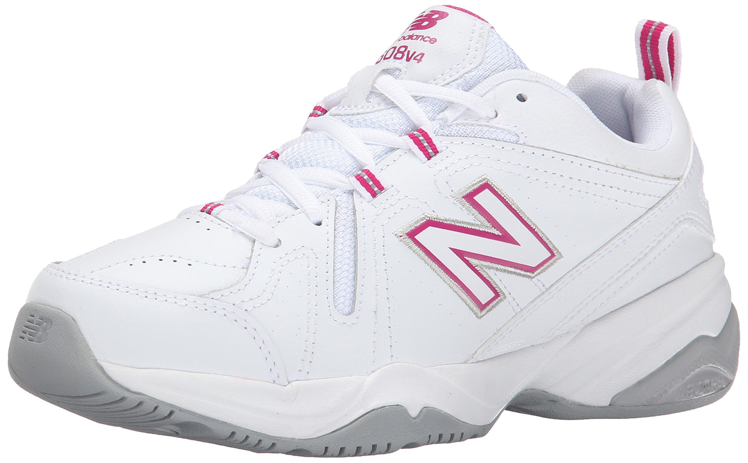 New Balance Women's WX608v4 Training Shoe, White/Pink, 8.5 D US