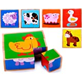 Wooden Farm Animal Cube Block Puzzle for Kids, Toddlers, Preschool Age   6 Barnyard Puzzles in One   Educational Toy 2 Year Olds & Up