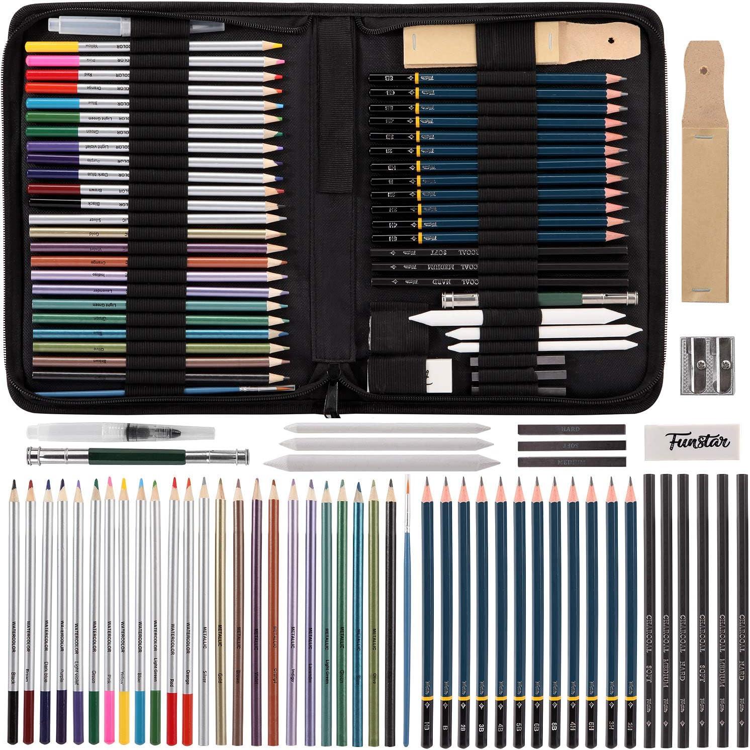 FUNSTAR Sketching Pencils Set Complete Artist Kit Includes Graphite Pencils 51pcs Professional Art Kit Sketching Tools Drawing Pencils and Sketch Kit Sharpener /& Eraser Pastel Stick