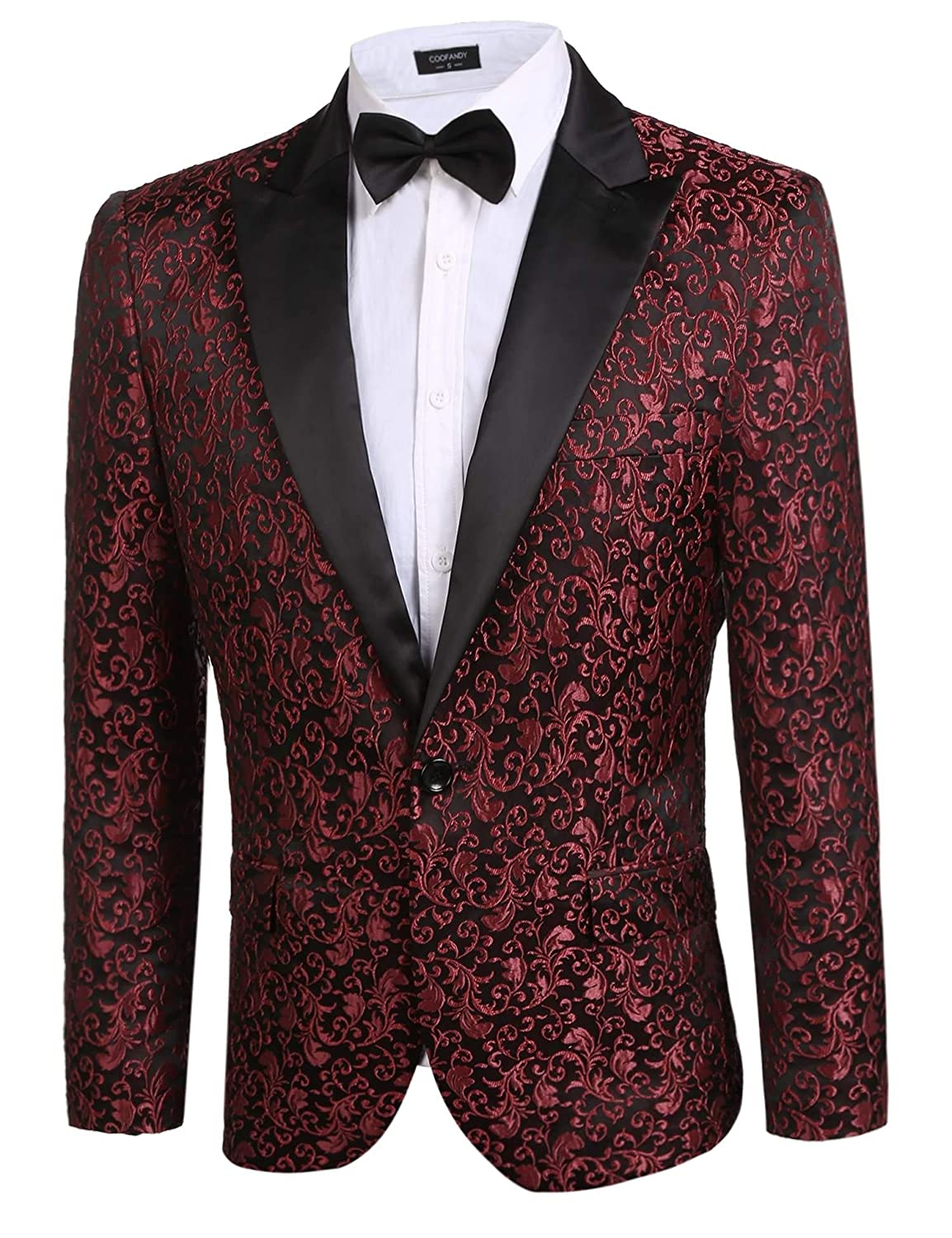 Donet Men's Floral Party Dress Suit Notched Lapel Stylish Dinner Jacket Wedding Blazer Prom Tuxedo XS-3XL