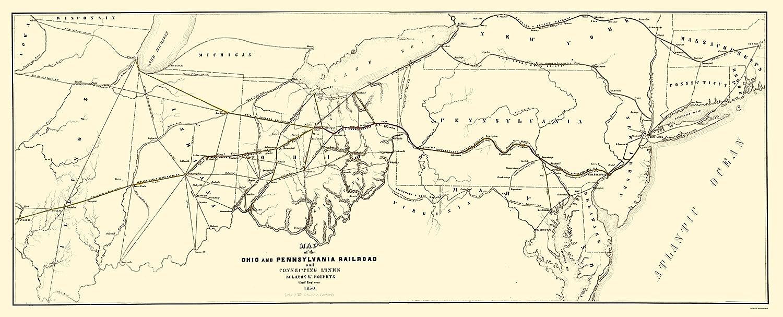 Pennsylvania And Ohio Map.Amazon Com Old Railroad Map Ohio And Pennsylvania Railroad
