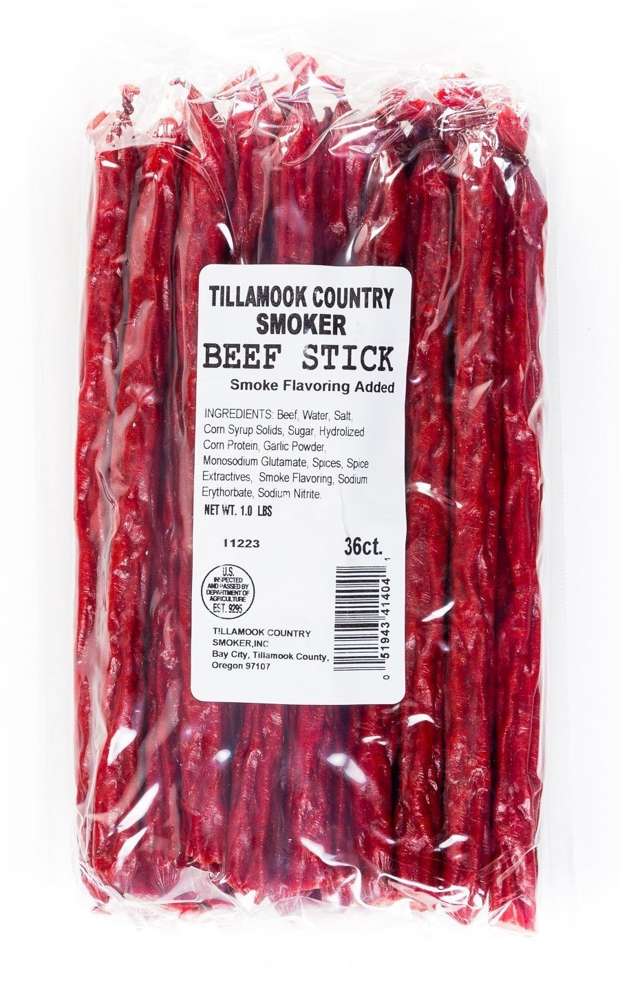 Tillamook Country Smoker - Beef Stick 36 ct Bulk Retail Refill 0.9-1 lbs Beef Jerky Sausage Stick Meat Snack Camping Hiking