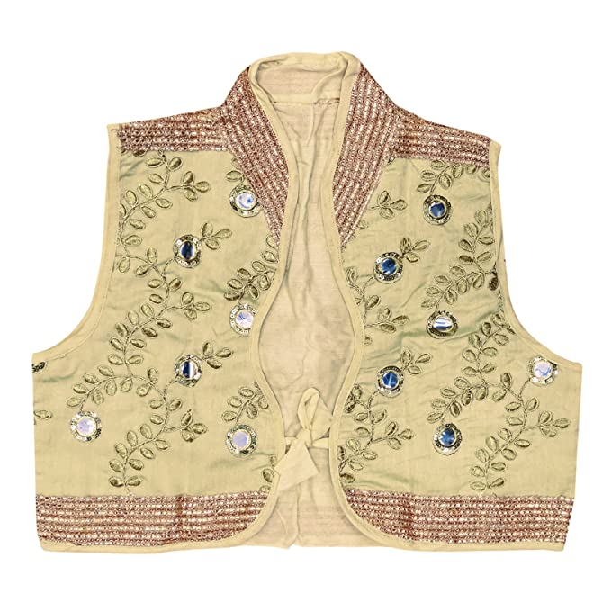 33804f5bfb Peegli Rajasthani Ethnic Embroidered Kutch Work Shrug Cream Short Jacket  Dupion Silk Indian Women Waist Jacket: Amazon.in: Clothing & Accessories