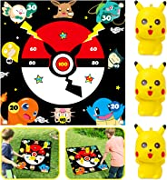 Ticiaga Pikachu Flarts Lawn Dart Game of Safe Version, Throwing 3pcs Pikachu Squishies Toy On Fabric Score Mat, Indoor or Ou