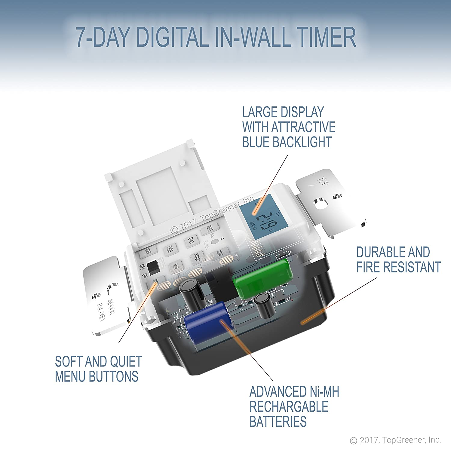 Enerlites Het01 7 Days Digital In Wall Programmable Timer Switch For Power Saver Circuit Diagram Jumbo Intelligent Lights Fans And Motors Single Pole Neutral Wire Required Day 18 On Off