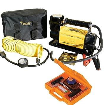 Tmax Heavy Duty Adventurer 12 V Compresor de aire 4 x 4 Bomba para neumáticos + Kit de reparación de neumáticos: Amazon.es: Coche y moto