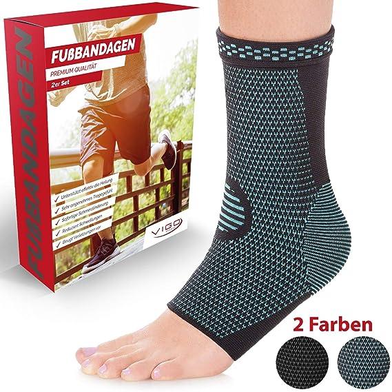Vigo Sports® [2er Set Fußbandage für effektive Schmerzlinderung - Sprunggelenk Bandage für Stabilität an Knöchel & Mittelfuß