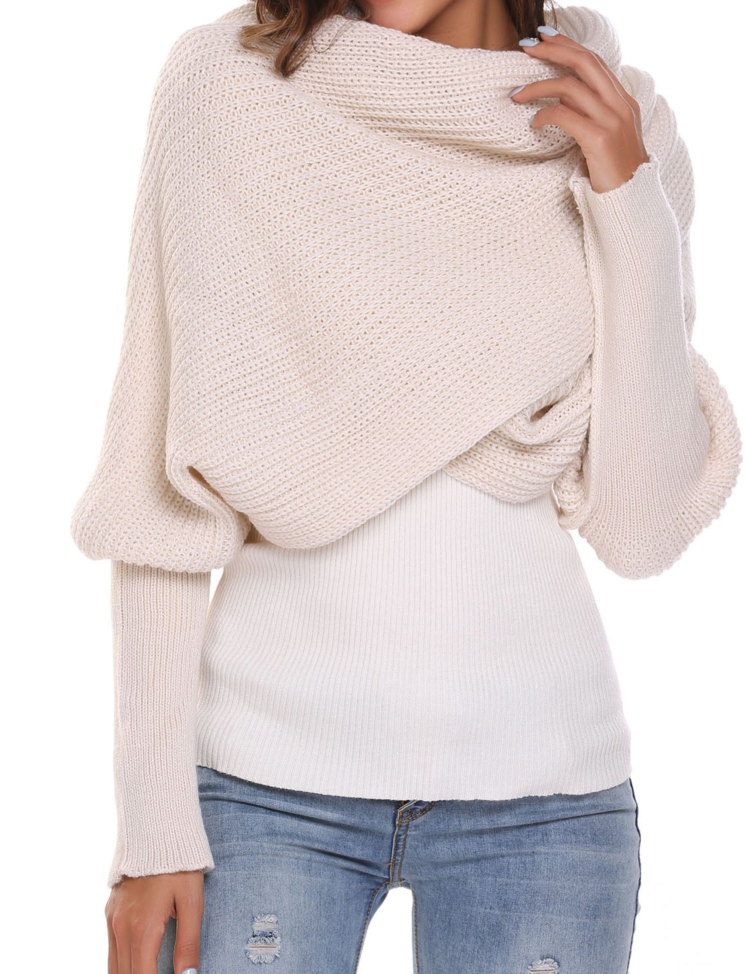 Women Men Winter Thick Cable Knit Wrap Chunky Warm Scarf All Colors Coat,Beige,One Size